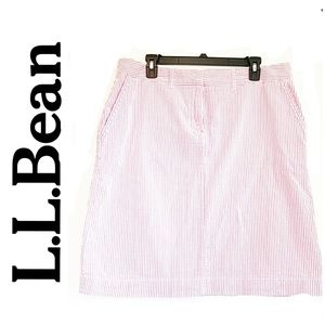L.L. Bean Cotton Pink and White Striped Skirt